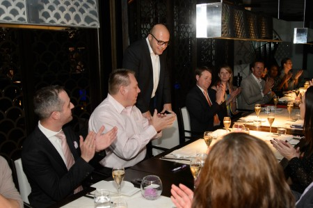 Omar Gutierrez addresses the crowd during dinner at Hakkasan (photos by Al Powers)
