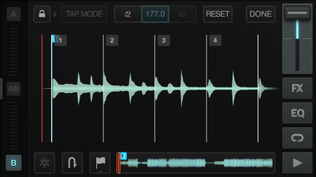 Beat Matching Grid Mode - In this window, users can match the beat of their music to the overall global tempo.
